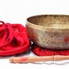 "11"" Tibetan Singing Bowl -Chakra Healing Bowl-Hand Ichting Carving-A Chakra Note"