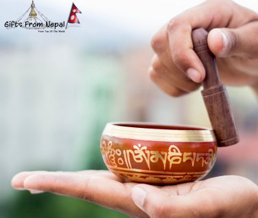 """Tibetan Singing Bowl - 3"""" Handcrafted design Made in Nepal - Red"""