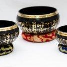 Chakra Healing Singing Bowls -Tibetan Singing Bowl Sets of 3 - Black Chakra Set
