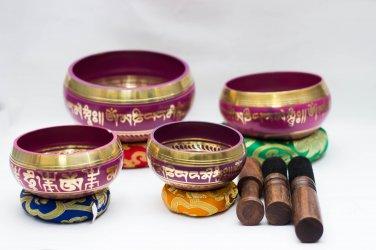 Tibetan Chakra Hand Beaten Singing Bowl - Hand Beaten Healing Set - Set of 4