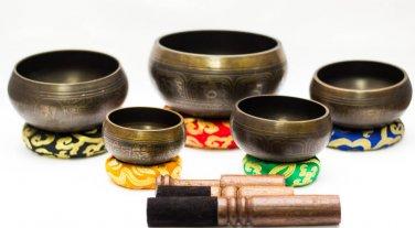 Chakra Healing Singing Bowls -Tibetan Singing Bowl Sets of 5 -Antique Chakra Set