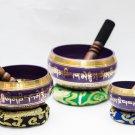 Tibetan Singing Bowl Sets of 3 - Chakra healing Singing Bowl - Blue