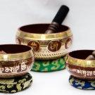 Tibetan Singing Bowl Sets of 3 - Chakra healing Singing Bowl - Red