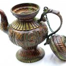 Handmade Tibetan Turquoise Tea Pot- Antique design Buddhist Copper Teapot