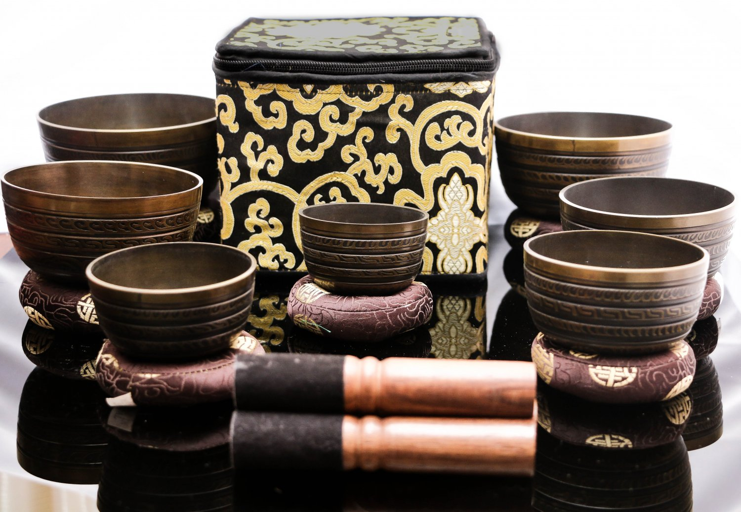 Chakra Healing Singing Bowls -Tibetan Singing Bowl Sets of 7 -Antique Chakra Set