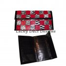 Handmade Red, Black, and Zebra Striped Woven Duct Tape Women's Wallet