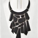 Chunky Bib Black Charm Silver Chain Earring Necklace Set Fashion Costume Jewelry