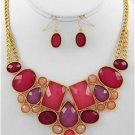 Chunky Beaded Pink Charm Gold Chain Earring Necklace Set Fashion Costume Jewelry
