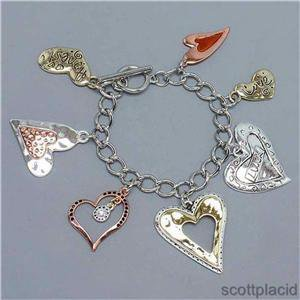 "Chunky Heart Charm Fashion Costume Jewelry Toggle Bracelet ""Matches Necklace Set"