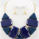 Chunky Beaded Blue Charm Gold Chain Earring Necklace Set Fashion Costume Jewelry