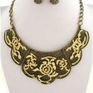 Chunky Burnished Gold Chain Charm Earring Necklace Set Fashion Costume Jewelry