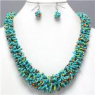 Chunky Bib Turquoise Beaded Silver Earring Necklace Set Fashion Costume Jewelry