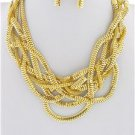 Chunky Bib Braided Gold Tone Chain Earring Necklace Set Fashion Costume Jewelry