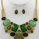 Chunky Bib Green Charm Gold Chain Earring Necklace Set Fashion Costume Jewelry