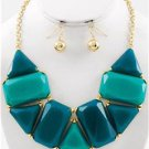 Chunky Turquoise Charm Gold Chain Earring Necklace Set Fashion Costume Jewelry