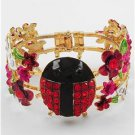 Chunky Gold Ladybug Flower Crystal Fold Over Fashion Costume Jewelry Bracelet