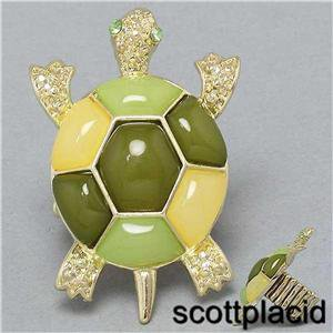 Chunky Gold Tone Green Turtle Charm Stretchable Fashion Costume Jewelry Ring