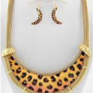 Chunky Bib Gold Leopard Print Charm Earring Necklace Set Fashion Costume Jewelry