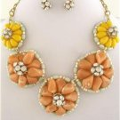 Chunky Bib Flower Charm Gold Chain Earring Necklace Set Fashion Costume Jewelry