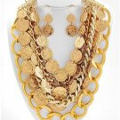 Chunky Bib Coin Charm Gold Chain Earring Necklace Set Fashion Costume Jewelry