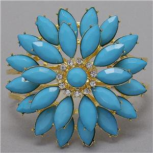 Chunky Gold Tone Blue Flower Charm Crystal Hing Fashion Costume Jewelry Bracelet