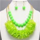 Chunky Neon Green Beaded Charm Gold Earring Necklace Set Fashion Costume Jewelry