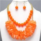Chunky Bib Neon Orange Beaded Gold Earring Necklace Set Fashion Costume Jewelry