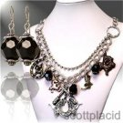 Chunky Beaded Western Cowgirl Charm Earring Necklace Set Fashion Costume Jewelry