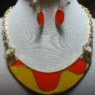 Chunky Bib Orange Yellow Charm Gold Earring Necklace Set Fashion Costume Jewelry