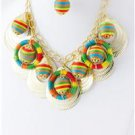 Chunky Bib Beaded Fabric Charm Gold Earring Necklace Set Fashion Costume Jewelry