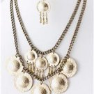Chunky Bib Gold Ring Charm Chain Earring Necklace Set Fashion Costume Jewelry
