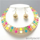 Chunky Orange Blue Pink Gold Choker Earring Necklace Set Fashion Costume Jewelry