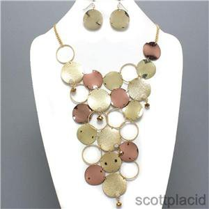 Chunky Bib Crystal Disc Copper Gold Earring Necklace Set Fashion Costume Jewelry
