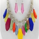 Chunky Multi Color Acrylic Silver Earring Necklace Set Fashion Costume Jewelry