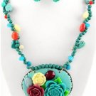 Chunky Bib Blue Beaded Flower Charm Earring Necklace Set Fashion Costume Jewelry