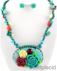 Chunky Bib Blue Beaded Flower Charm Earring Necklace Set Fashion Costume Jewelry