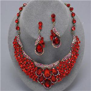 Chunky Bib Bridal Red Crystal Charm Earring Necklace Set Fashion Costume Jewelry