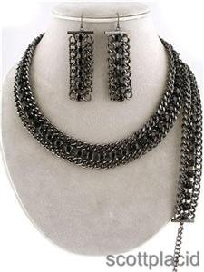 Chunky Black Crystal Chain Fashion Costume Jewelry Earring Bracelet Necklace Set