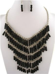 Chunky Black Beaded Stone Silver Earring Necklace Set Fashion Costume Jewelry