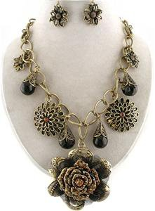 Chunky Bib Brass Chain Flower Charm Earring Necklace Set Fashion Costume Jewelry