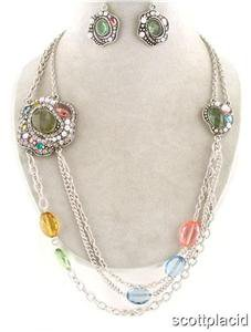 Chunky Colorful Beaded Pearl Charm Earring Necklace Set Fashion Costume Jewelry