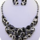 Chunky Black Crystal Hematite Chain Earring Necklace Set Fashion Costume Jewelry