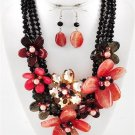 Chunky Beaded Flower Charm Silver Earring Necklace Set Fashion Costume Jewelry