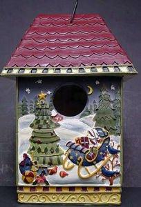 Christmas Holiday Ceramic Bird House Ornament