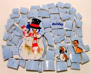 72 Snowman w Cat & Dog Mosaic Puzzle Tiles