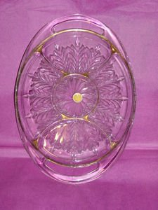 22 KT Gold Decorated Trim Divided Glass Oval Platter Serving Dish