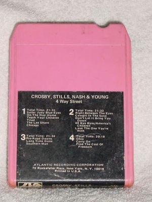 Crosby Stills Nash Young 4 Way Street Vintage 8 Track Tape Pink Music Cassette