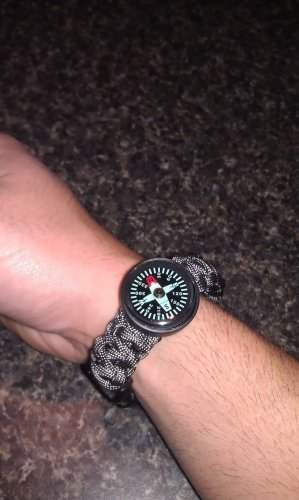 Od green with black tracer 550 paracord bracelet with compass