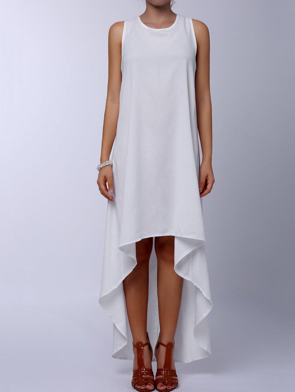 Stylish Round Collar Sleeveless Asymmetrical Dress