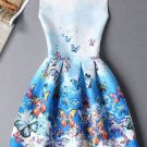 Cute Sleeveless Round Neck Butterfly Print Ombre Dress For Women